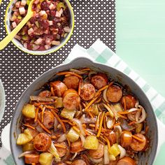 Sweet 'n' Sour Sausage Stir-Fry Recipe -I am a product manager and home-school our two children. My family truly enjoys this quick meal. I can have it on the table in about 30 minutes with no thawing and no planning. —Wendy Wendler of Satellite Beach, Florida