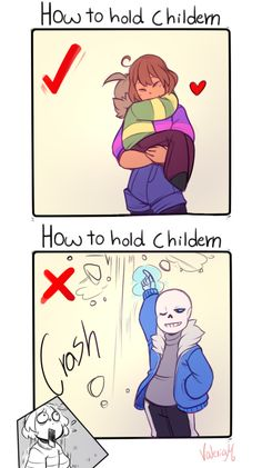 """UNDERTALE Sans Frisk Asriel """"How to hold children"""" (Really Sans? You just threw your kid in the air! Undertale Undertale, Undertale Comic Funny, Undertale Pictures, Undertale Drawings, Sans E Frisk, Nerd, Funny Memes, Hilarious, Fan Art"""