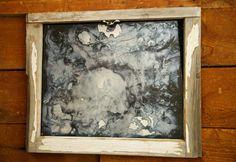 Antiqued Silver Mirror, Silver Window Frame Mirror, 24x19