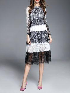 Shop Midi Dresses - Multicolor Guipure Lace Long Sleeve A-line Midi Dress online. Discover unique designers fashion at StyleWe.com.