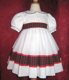 Baby Girl, Toddler Girl, Vintage Style, Classic, Traditional Party Dress, Imported Dotted Swiss and Tartan Trim