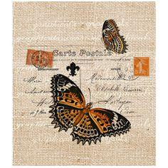 Orange butterflies Paris carte postale stamps digital download image... ($1) ❤ liked on Polyvore
