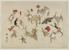 Kawanabe Kyosai Sketch. Animals and insects with autumn fruits and leaves. 1879