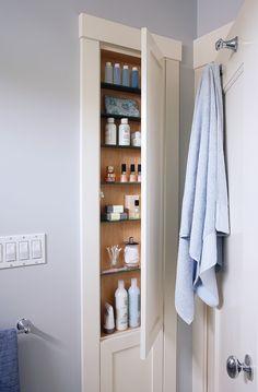 Bathroom Storage Solutions, Small Bathroom Storage, Bathroom Recessed Shelves, Bath Storage, Bathroom Renos, Bathroom Renovations, Bathroom Ideas, Bathroom Hacks, Shiplap Bathroom