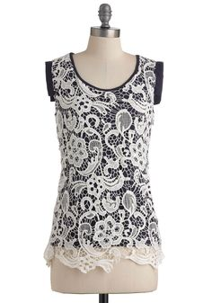 I may like lace a little too much. $47.99 Oh Haiku There Top - Casual, Sleeveless, Mid-length, White, Blue, Floral, Crochet, Cotton, Top Rated