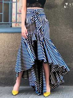 Boho Ruffle Asymmetrical Long Skirt Women Summer Blue Striped High Waistmodkily skirt skirt skirt skirt outfit skirt for teens midi skirt Midi Rock Outfit, Midi Skirt Outfit, Dress Skirt, The Dress, Maxi Skirts, Striped Skirt Outfit, Jean Skirts, Denim Skirts, Casual Skirts