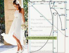 Multi-layered chiffon high low dress.  [Moldes Moda por Medida: VESTIDO DE NOIVA - 1]