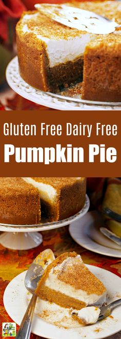 Gluten Free Dairy Free Pumpkin Pie is a must serve Thanksgiving dessert. Dairy-free pumpkin pie made with coconut cream & gluten-free cookie crust. Tips on making it into a sugar-free & a vegan pumpkin pie recipe. Dairy Free Pumpkin Pie, Pumpkin Cream Pie, Vegan Pumpkin Pie, Pumpkin Pie Bars, Pumpkin Pie Recipes, Baked Pumpkin, Easy Pie Recipes, Dairy Free Recipes, Thanksgiving Desserts