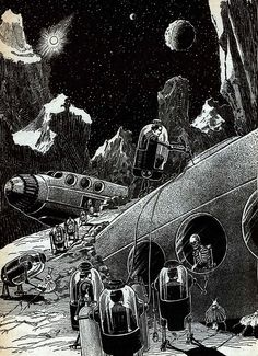 """""""In absolute darkness we brooded on the origin and the destiny of the galaxies, and on the appalling contrast between the cosmos and our minute home-lives to which we longed to return."""" Art: Frank R. Paul, 1932."""