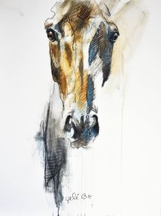 Alerte VIII, a Pastel on Other by Benedicte Gele from France. It portrays: Animal, relevant to: empty spaces, horse eye, stroke, horse look, equestrian art, horse art, horse head, equine, horse, equine art, line Pastels and black chalk on fiberboard (MDF) finished with a varnish, without frame - 2013