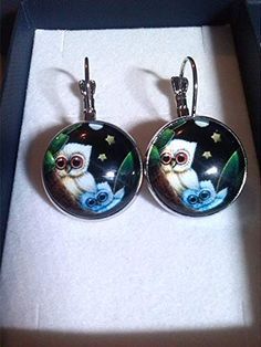 Ohrhänger mit Eulen-Cabochon: Amazon.de: Handmade Christmas Bulbs, Drop Earrings, Holiday Decor, Jewelry, Design, Home Decor, Owl Earrings, Silver, Colors