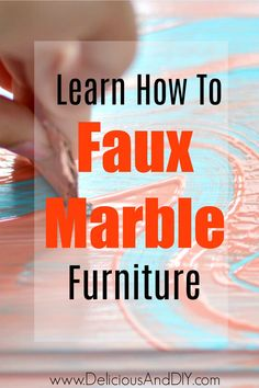 Learn how to easily Faux Marble Furniture with this Simple and Easy Hack| A great way to update furniture is by painting a faux marble design| Step by Step tutorial on how to Paint Faux Marble onto Furniture. #fauxmarble #marbling #homedecor #thriftedfurniture #paintedfurniture