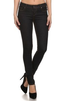 Sleek, Saturated provides a brilliant colored finish on these Enjean skinny jeans. 5-pocket styling. Single-button closure and zip fly.