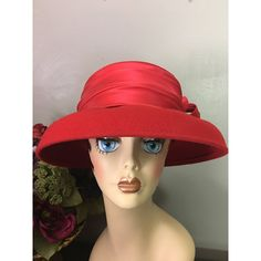 Vintage Red Satin and Wool Felt Hat, 1950s ($30) ❤ liked on Polyvore featuring accessories, hats, woolen hat, red hat, red felt hat, satin hat and vintage hats
