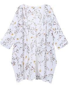 a5400f4373e OLRAIN Women s Floral Print Sheer Chiffon Loose Kimono Cardigan Capes at Amazon  Women s Clothing store