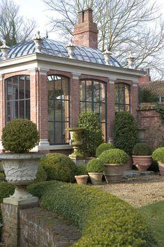 A beautiful orangery, (or greenhouse) belgian architecture. Outdoor Rooms, Outdoor Gardens, Outdoor Sheds, Outdoor Living, Beautiful Gardens, Beautiful Homes, Dream Garden, Home And Garden, Gazebos