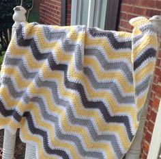 Citron Yellow and Grey Chevron crochet baby blanket on Etsy, $35.00