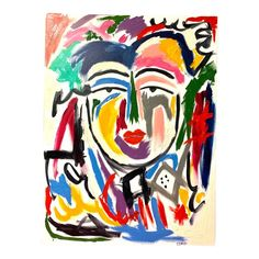 """Modern """"Ming"""" Abstract Face Painting For Sale Abstract Geometric Art, Abstract Faces, Abstract Portrait, Color Script, Mini Canvas Art, Textiles, Watercolor Artists, Painting Patterns, Face Art"""