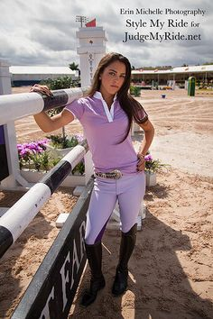 Spring is here and we have a full range of lovely fun and unique spring colors for you to choose from! Like these pale Lavender and dark plum breeches, from Harrods, London., feature a full seat accented with an black and purple checkboard stripe. Lilac shirt, by Equiline, with ruched embroidered shoulders, and a crisp white collar.  The Gray cowhide, studded belt with silver concho buckle is by Nocona .    Stylemyride.net @SMRequestrian @denirobootco #stylemyride #spring #musthave #fashion…
