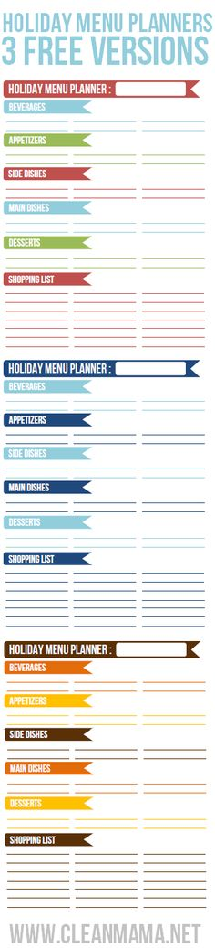 Start the brainstorming and planning of the perfect holiday menu with these FREE Holiday Menu Planners from Clean Mama