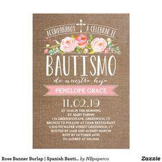 Tarjeta Español color de rosa Bautismo de la arpillera el