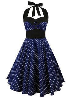 "Robe Rockabilly Retro Vintage ""Ashley Dark Blue White mini polka dots"" - rockangehell.com"