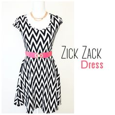 """🌞🆕 Zick Zack Dress Beautiful black and white dress with zick zack design. Truly flattering. Front and back have the same design. The dress and middle part is stretchy. (Belt not attached to the dress but included)  Content:  96% polyester  4% spandex   Woman's Dress Measures: Pit to pit: 16""""(stretches to 20"""") Top to bottom: 34"""" Middle part: 14""""   ▪️NWT ▪️Smoke/Pet free 🚫No Trade  Happy Poshing  ❣ Dresses Midi"""