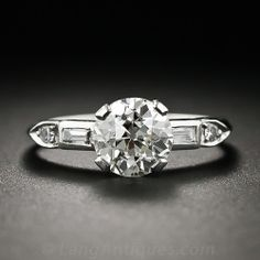 1.33 Carat Art Deco Platinum and Diamond Engagement Ring - 10-1-5797 - Lang Antiques