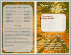 Free Funeral Memorial Order of Service Programs Template For Microsoft Word http://funeralprogramtemplates.blogspot.com/2015/04/downloadable-funeral-order-of-service-program-word.html