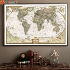 Home Decor | Vintage Retro Matte Kraft Paper World Map Antique Poster Wall Sticker Home Decora 72.5*47.5CM – US $1.75