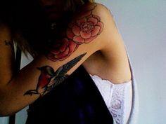 My right half sleeve - camelias and a robin bird
