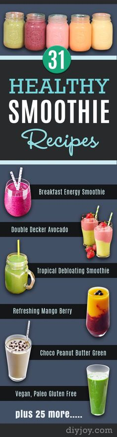 Healthy Smoothie Recipes - Best Smoothies for Breakfast, Lunch, Dinner and Snack. LowFat and Hi Protein Mixes