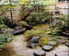kleinen japansichen garten gestalten bepflanzung steine moos