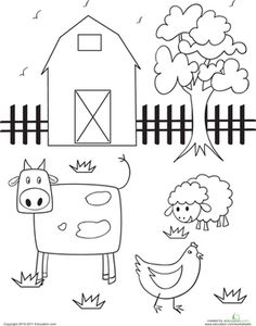 Preschool Animals Places Worksheets: Barn Coloring Page