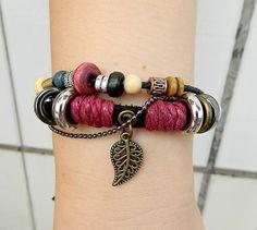 Leaf bracelet Adjustable braceletantique silver by goodlucky, $6.90