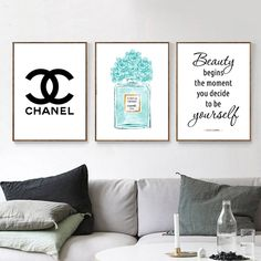 Glamour Art Inspired By Chanel Perfume, Girls Room Fashion Wall Art, Set of 3 prints Watercolor Wall Decor, Perfume Bottle Fashion Illustration. 111 sold by Sunshine Store Finds on Storenvy Chanel Room, Chanel Wall Art, Chanel Decor, Wall Art Sets, Wall Art Decor, Wall Art Prints, Chanel Poster, Chanel Print, Watercolor Walls