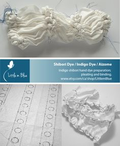 Shibori Dye / Indigo Dye / Aizome   Indigo shibori hand dye preparation; pleating and binding. (Little m Blue)