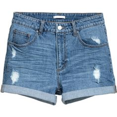 Denim Shorts $24.99 ($25) ❤ liked on Polyvore featuring shorts, distressed jean shorts, blue shorts, blue jean shorts, short denim shorts and zipper shorts
