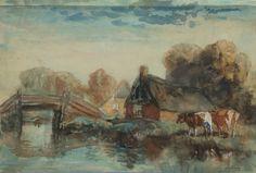 Arnold Koning - Giethoorns bruggetje - De aquarel (32-48 cm) is door de invloed van licht in de tijd versleten en verbleekt, maar nog steeds charmant.