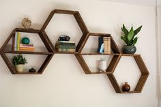 DIY Honeycomb Hexagon Shelves - living room