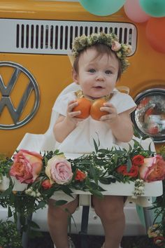 Smash cake setup, girl first birthday party, vw bus, Framebridge, Garden roses, citrus decor, girl first birthday party, baby shower, floral arrangements, peonies and roses, orange themed party, citrus theme party