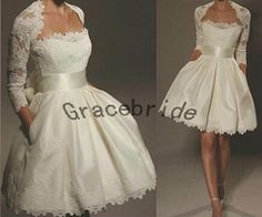 2014 latest short ivory wedding dresses with unique lace cape holiday gowns 3/4 sleeves prom dress for homecoming hot ivory satin ball gowns on Etsy, $188.00
