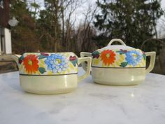 Pretty Retro Art Deco Gold Castle Handpainted Lidded Sugar and Creamer Floral Orange Blue Asian Dining Vintage Kitchen by NewOxfordVintage on Etsy