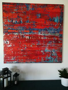 Peinture HET Acrylic colors blue and orange Abstract art
