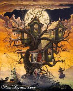 halloween art prints   Halloween Folk Witch Art Print Haunted Tree House Byrum Art MHA Team ...