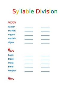 syllable division Teaching syllable segmentation i could write a book on syllable division/segmentation, but i hope the anchor chart and foldable can.