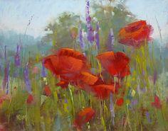 POPPIES red poppy landscape  Original Pastel Painting Karen