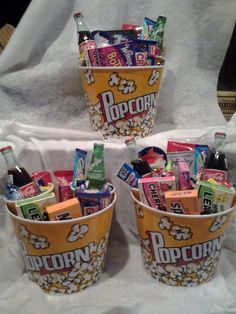 Family Movie Night Gift Basket from Connie's Creations - Movie Night Gift Bucket – Thumbnail 3 - Diy Gift Baskets, Raffle Baskets, Gift Basket Ideas, Gift Baskets For Kids, Summer Gift Baskets, Homemade Gift Baskets, Movie Gift Baskets, Snack Gift Basket, Candy Gift Baskets