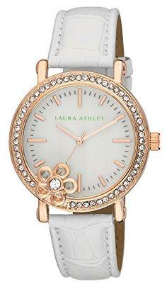 63da80313 Laura Ashley Womens LA31013WT Analog Display Japanese Quartz White Watch *  For more information, visit image link. (Note:Amazon affiliate link)