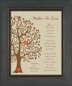 Wedding Gift for Mother In-Law - Future Mom In-Law Gift - Thank You Print - Personalized Gift from Bride - Available in any color